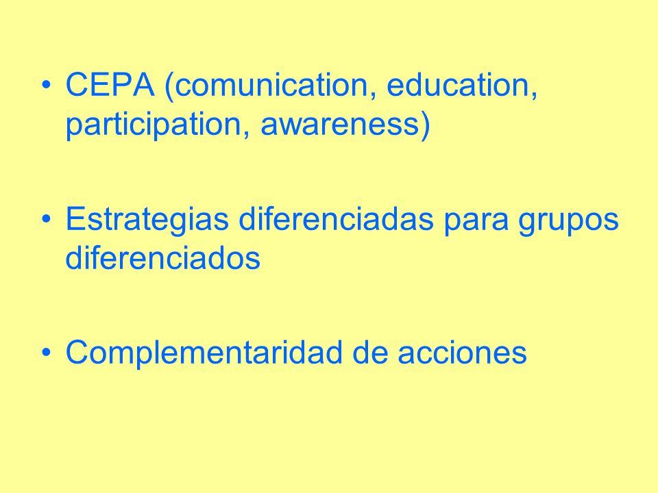 CEPA (comunication, education, participation, awareness) Estrategias diferenciadas para grupos diferenciados Complementaridad de acciones