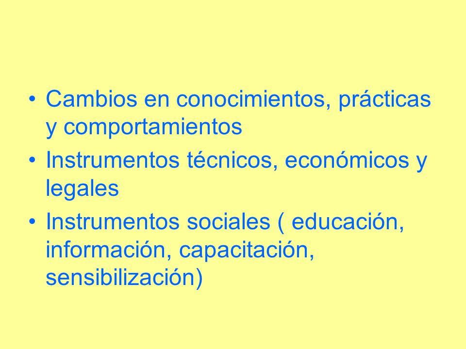 Cambios en conocimientos, prácticas y comportamientos Instrumentos técnicos, económicos y legales Instrumentos sociales ( educación, información, capa