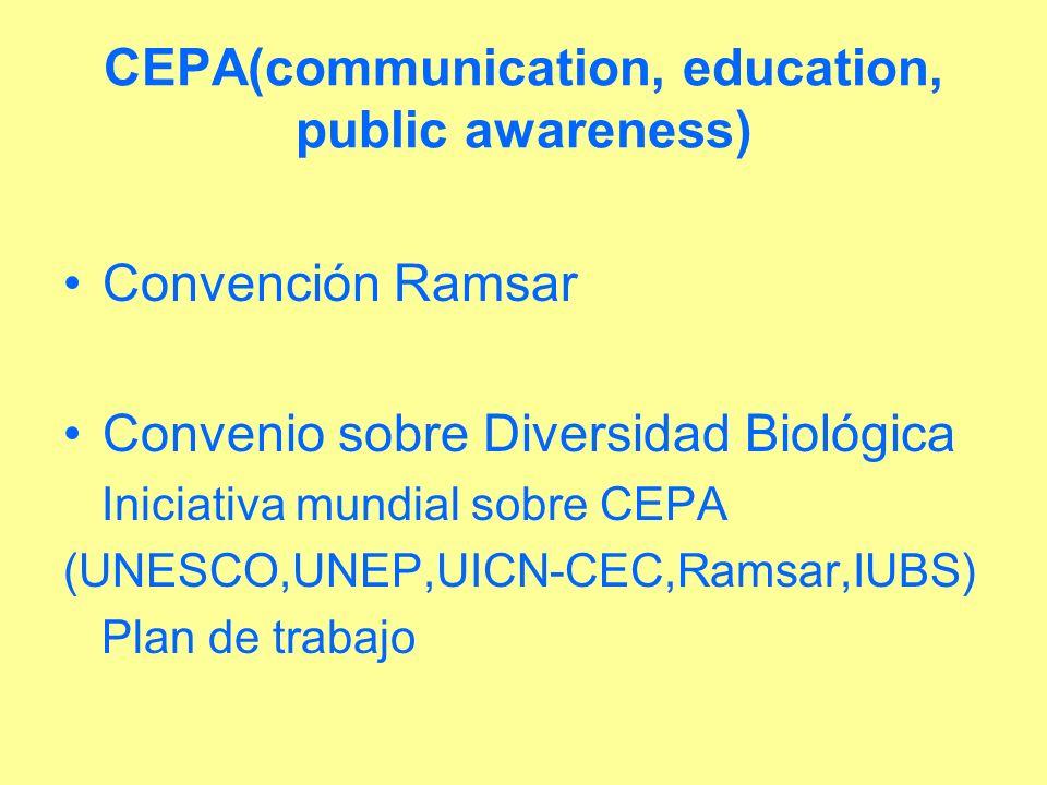 CEPA(communication, education, public awareness) Convención Ramsar Convenio sobre Diversidad Biológica Iniciativa mundial sobre CEPA (UNESCO,UNEP,UICN