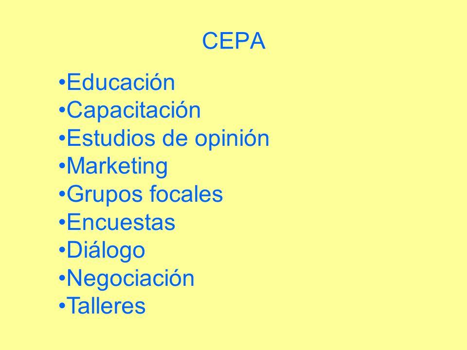 CEPA Educación Capacitación Estudios de opinión Marketing Grupos focales Encuestas Diálogo Negociación Talleres