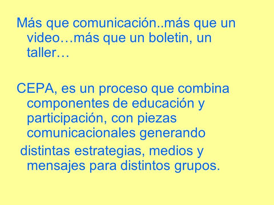 Más que comunicación..más que un video…más que un boletin, un taller… CEPA, es un proceso que combina componentes de educación y participación, con pi