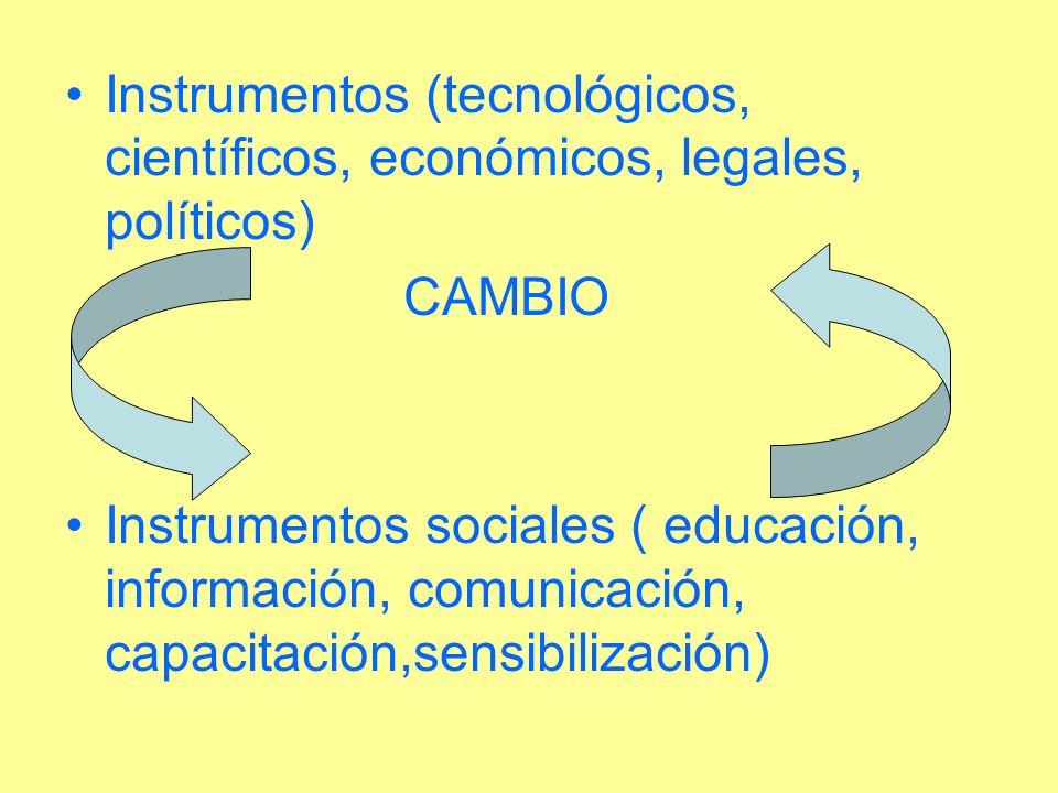 Instrumentos (tecnológicos, científicos, económicos, legales, políticos) CAMBIO Instrumentos sociales ( educación, información, comunicación, capacita