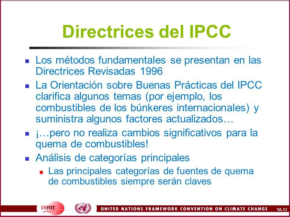 1A.13 Directrices del IPCC Los métodos fundamentales se presentan en las Directrices Revisadas 1996 La Orientación sobre Buenas Prácticas del IPCC cla