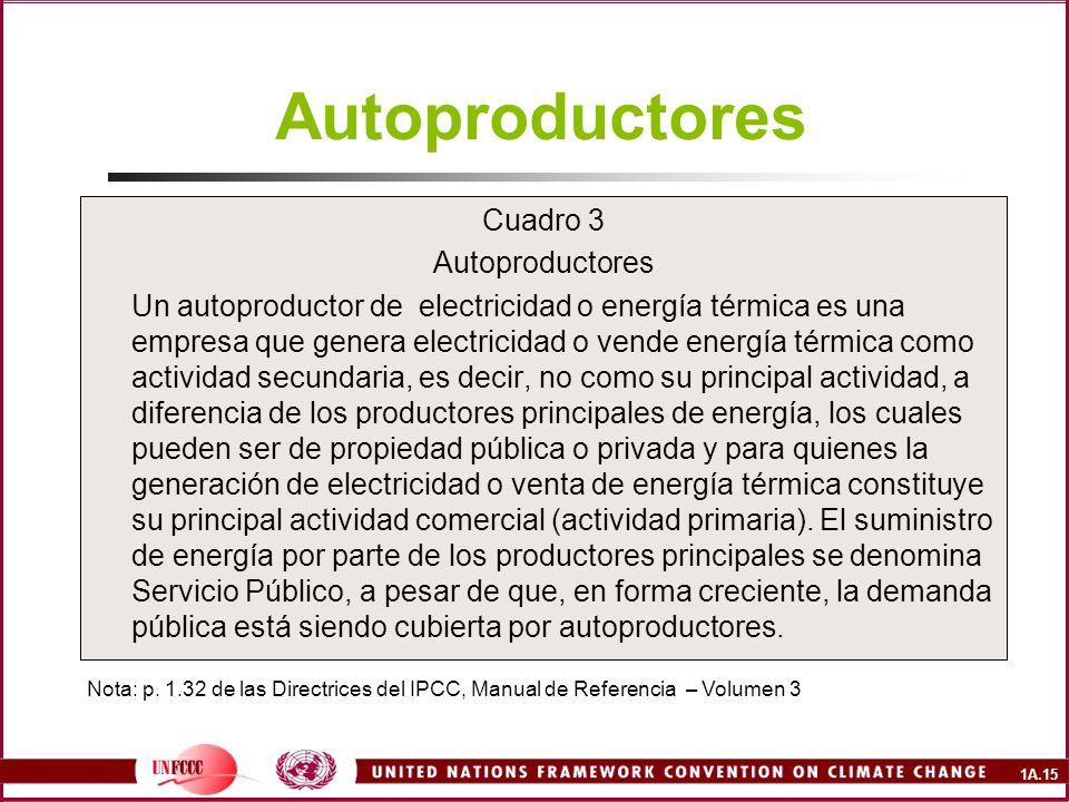 1A.15 Autoproductores Cuadro 3 Autoproductores Un autoproductor de electricidad o energía térmica es una empresa que genera electricidad o vende energ