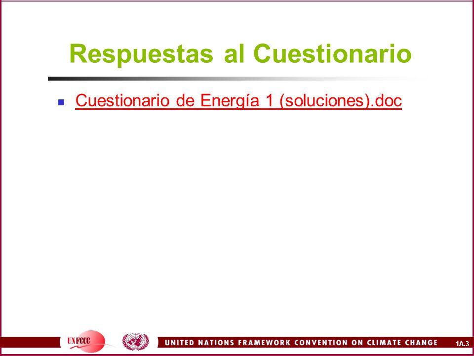 1A.4 Esquema del Curso Quema de Combustibles (5-6 horas) Cuestionario Presentaciones Mesa redonda de discusión sobre los problemas enfrentados Referencias Procesos básicos de emisiones Metodologías Relación con otras fuentes y sectores Incertidumbre Control de calidad y exhaustividad