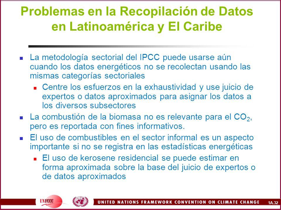 1A.32 Problemas en la Recopilación de Datos en Latinoamérica y El Caribe La metodología sectorial del IPCC puede usarse aún cuando los datos energétic