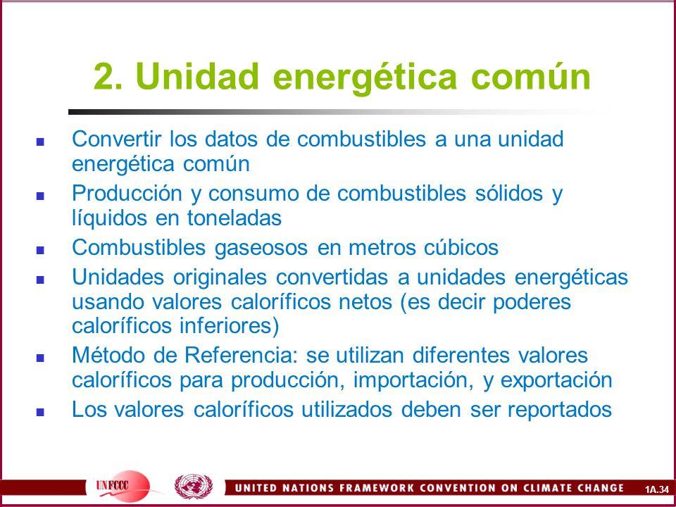 1A.34 2. Unidad energética común Convertir los datos de combustibles a una unidad energética común Producción y consumo de combustibles sólidos y líqu