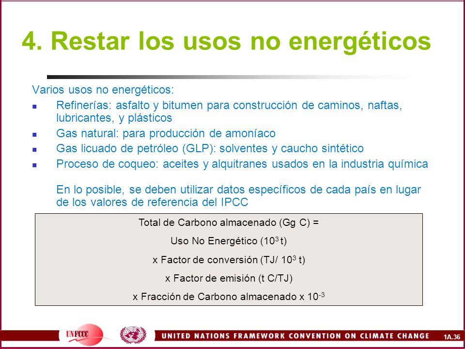 1A.36 4. Restar los usos no energéticos Varios usos no energéticos: Refinerías: asfalto y bitumen para construcción de caminos, naftas, lubricantes, y