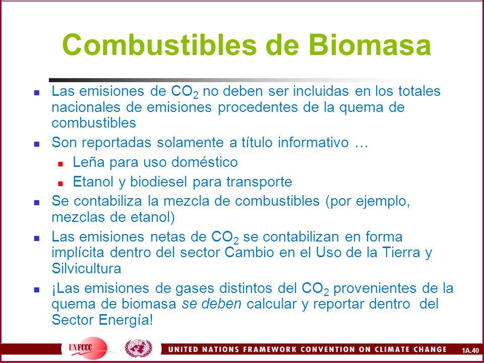 1A.40 Combustibles de Biomasa Las emisiones de CO 2 no deben ser incluidas en los totales nacionales de emisiones procedentes de la quema de combustib