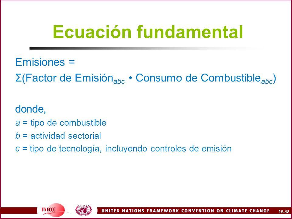 1A.42 Ecuación fundamental Emisiones = Σ(Factor de Emisión abc Consumo de Combustible abc ) donde, a = tipo de combustible b = actividad sectorial c =