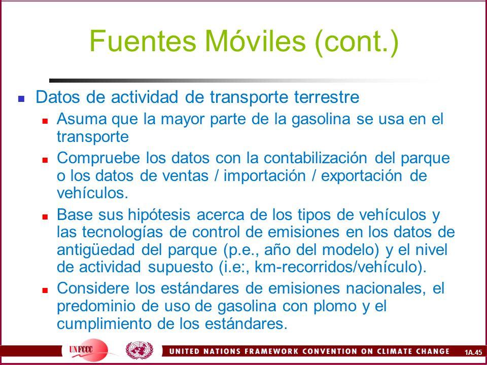 1A.45 Fuentes Móviles (cont.) Datos de actividad de transporte terrestre Asuma que la mayor parte de la gasolina se usa en el transporte Compruebe los