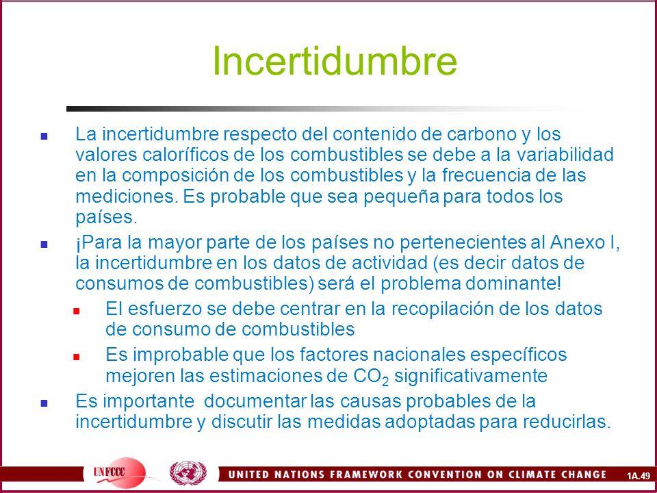 1A.49 Incertidumbre La incertidumbre respecto del contenido de carbono y los valores caloríficos de los combustibles se debe a la variabilidad en la c