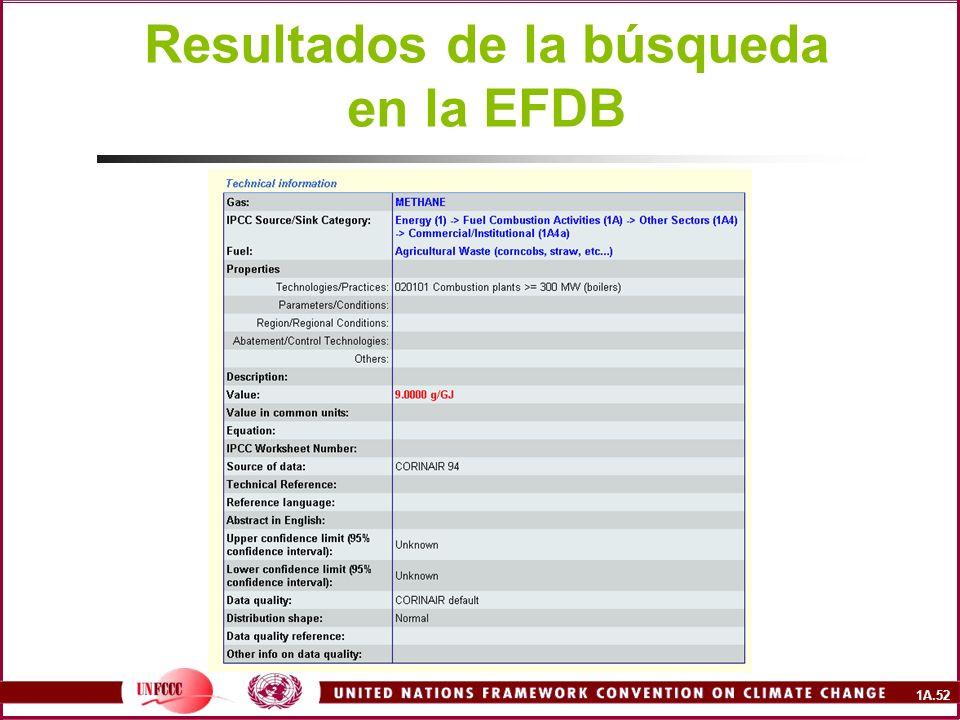 1A.52 Resultados de la búsqueda en la EFDB