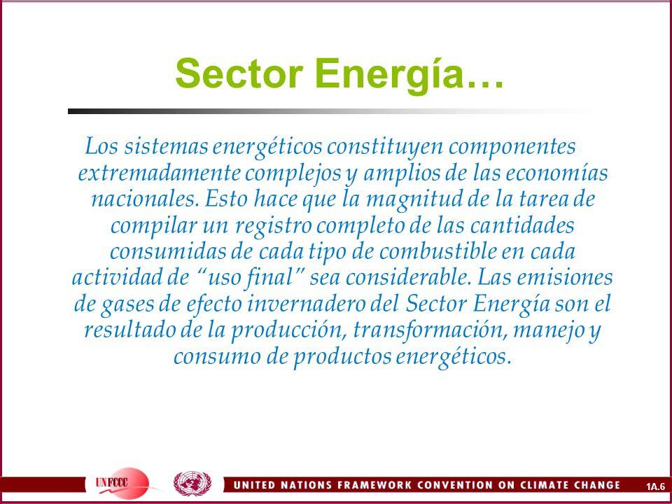1A.6 Sector Energía… Los sistemas energéticos constituyen componentes extremadamente complejos y amplios de las economías nacionales. Esto hace que la
