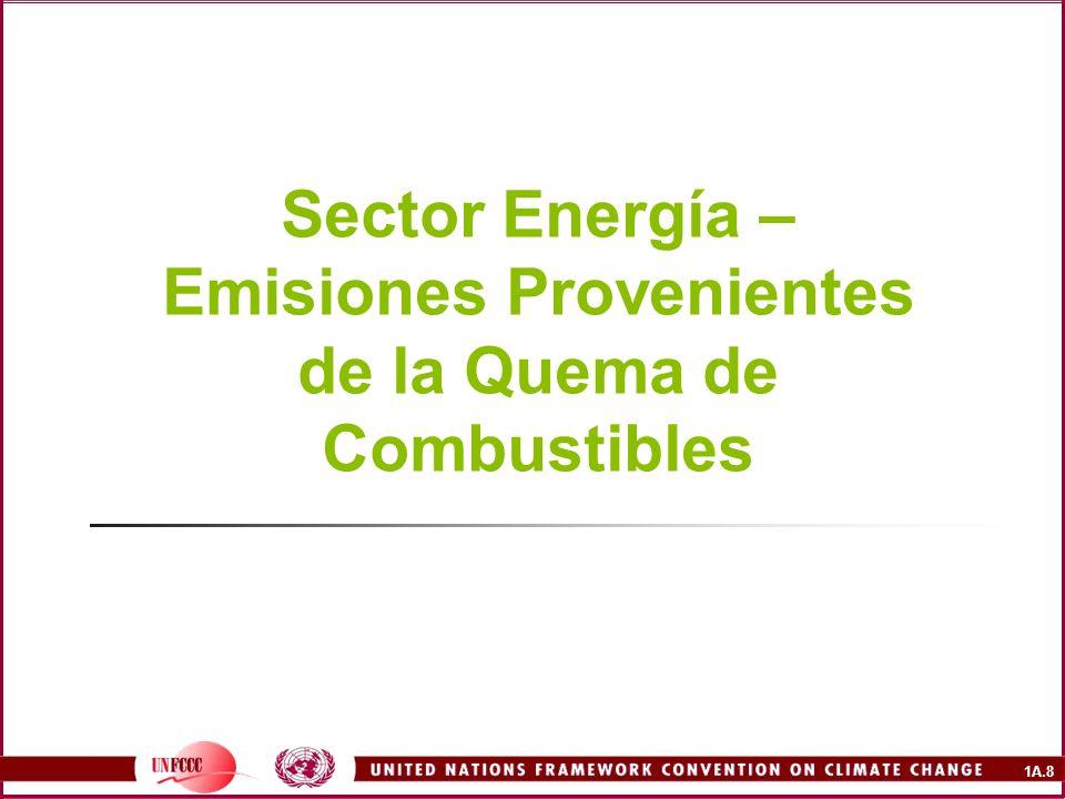 1A.29 Ecuación Fundamental Emisiones de carbono = consumo de combustible de cada sector expresado en unidades de energía (TJ) x factor de emisión de carbono - Carbono almacenado x fracción oxidada