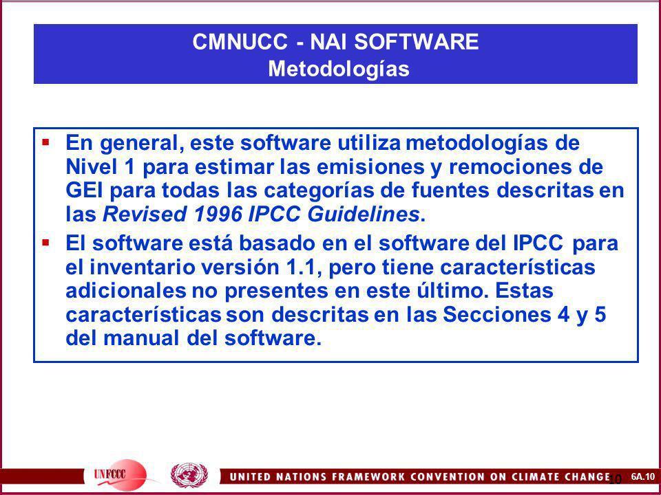 6A.10 10 En general, este software utiliza metodologías de Nivel 1 para estimar las emisiones y remociones de GEI para todas las categorías de fuentes