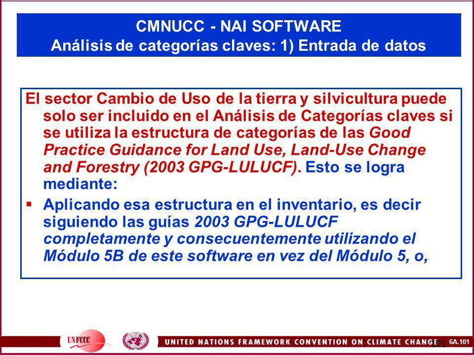 6A.101 101 CMNUCC - NAI SOFTWARE Análisis de categorías claves: 1) Entrada de datos El sector Cambio de Uso de la tierra y silvicultura puede solo ser