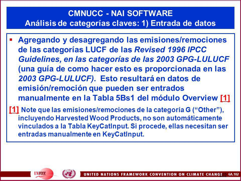 6A.102 102 CMNUCC - NAI SOFTWARE Análisis de categorías claves: 1) Entrada de datos Agregando y desagregando las emisiones/remociones de las categoría