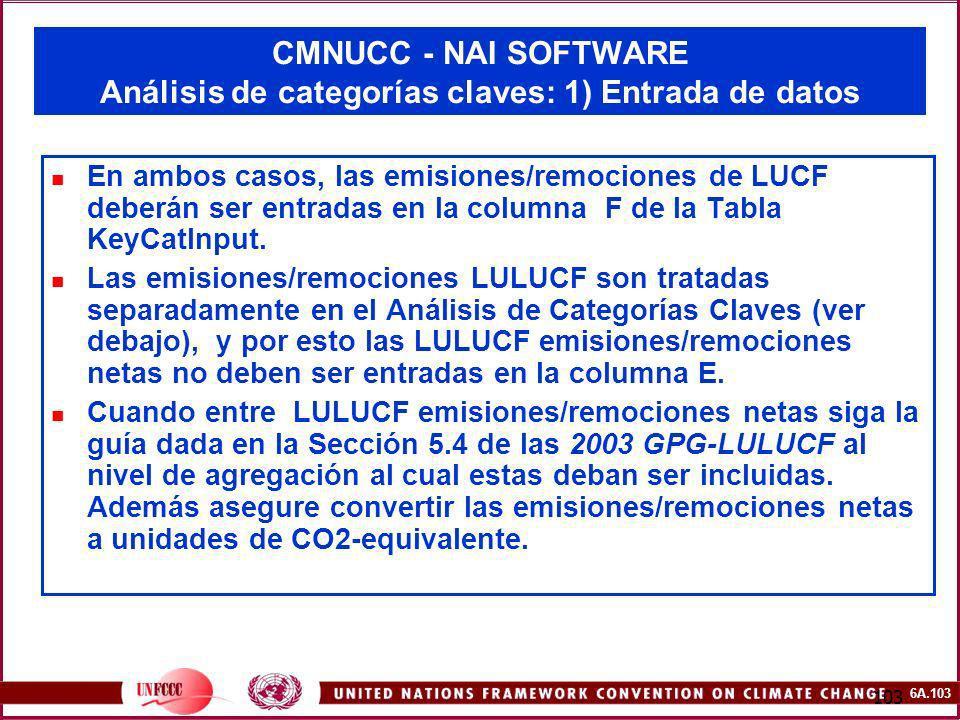 6A.103 103 CMNUCC - NAI SOFTWARE Análisis de categorías claves: 1) Entrada de datos En ambos casos, las emisiones/remociones de LUCF deberán ser entra