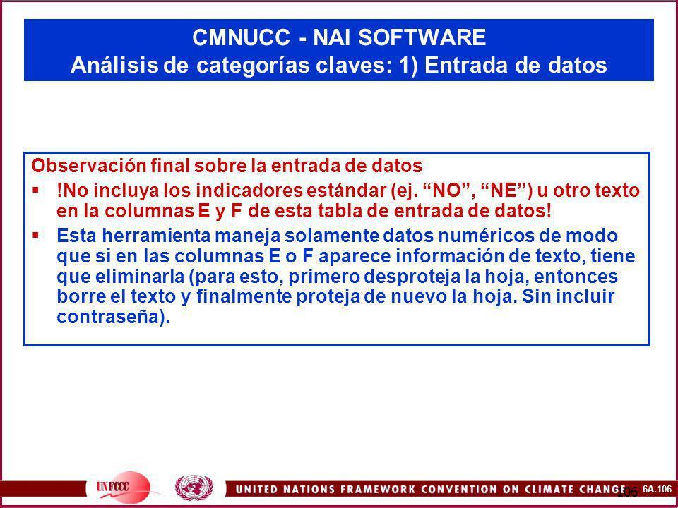 6A.106 106 CMNUCC - NAI SOFTWARE Análisis de categorías claves: 1) Entrada de datos Observación final sobre la entrada de datos !No incluya los indica