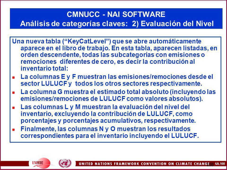 6A.108 108 CMNUCC - NAI SOFTWARE Análisis de categorías claves: 2) Evaluación del Nivel Una nueva tabla (KeyCatLevel) que se abre automáticamente apar