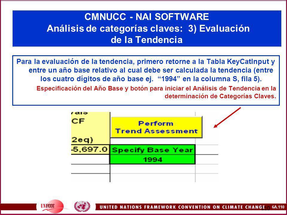 6A.110 110 CMNUCC - NAI SOFTWARE Análisis de categorías claves: 3) Evaluación de la Tendencia Para la evaluación de la tendencia, primero retorne a la