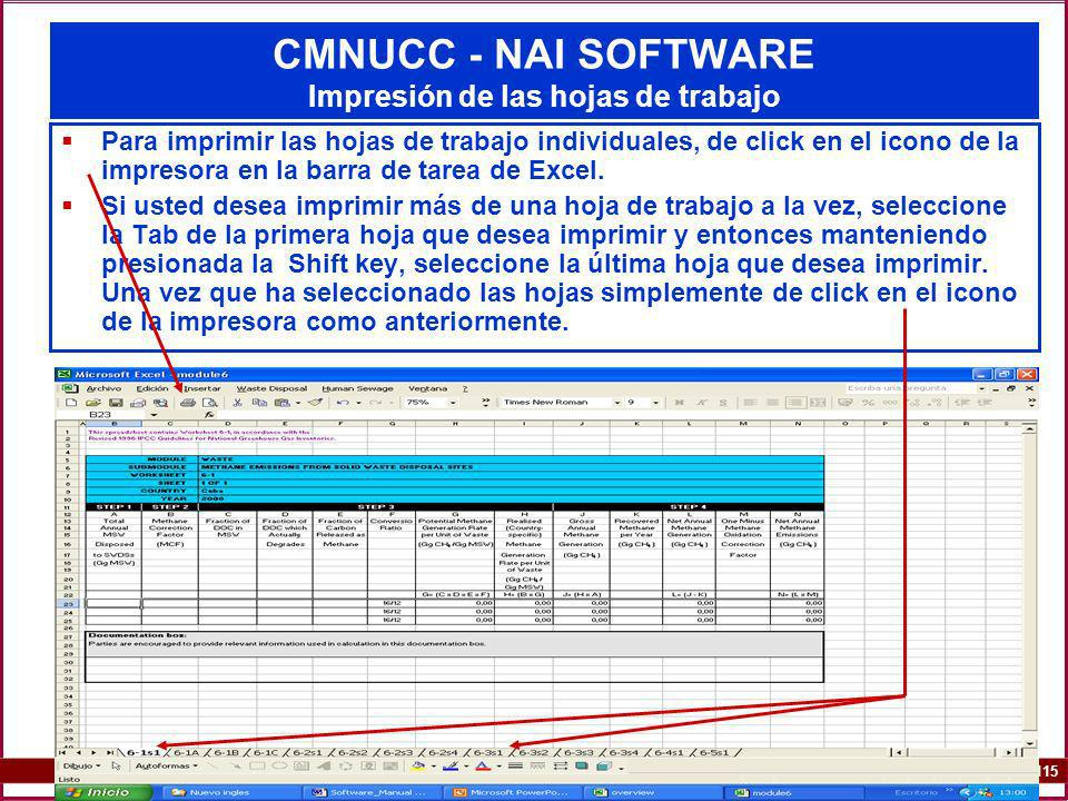 6A.115 115 CMNUCC - NAI SOFTWARE Impresión de las hojas de trabajo Para imprimir las hojas de trabajo individuales, de click en el icono de la impreso