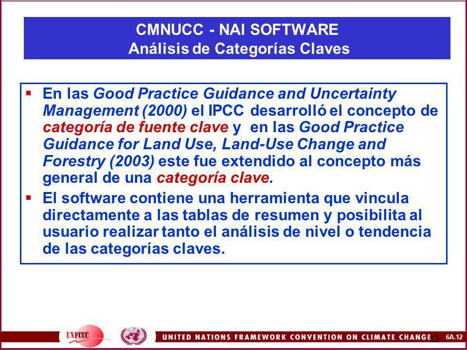 6A.12 12 En las Good Practice Guidance and Uncertainty Management (2000) el IPCC desarrolló el concepto de categoría de fuente clave y en las Good Pra