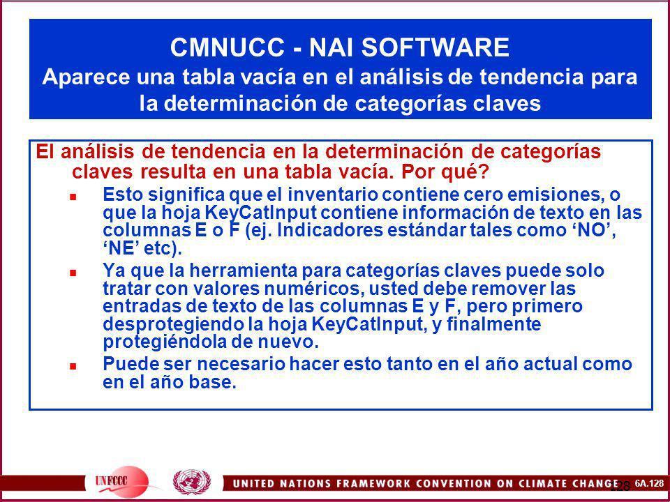 6A.128 128 CMNUCC - NAI SOFTWARE Aparece una tabla vacía en el análisis de tendencia para la determinación de categorías claves El análisis de tendenc