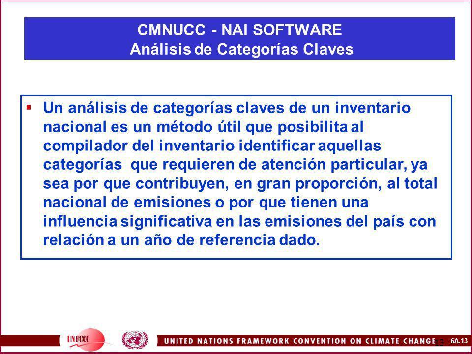 6A.13 13 Un análisis de categorías claves de un inventario nacional es un método útil que posibilita al compilador del inventario identificar aquellas