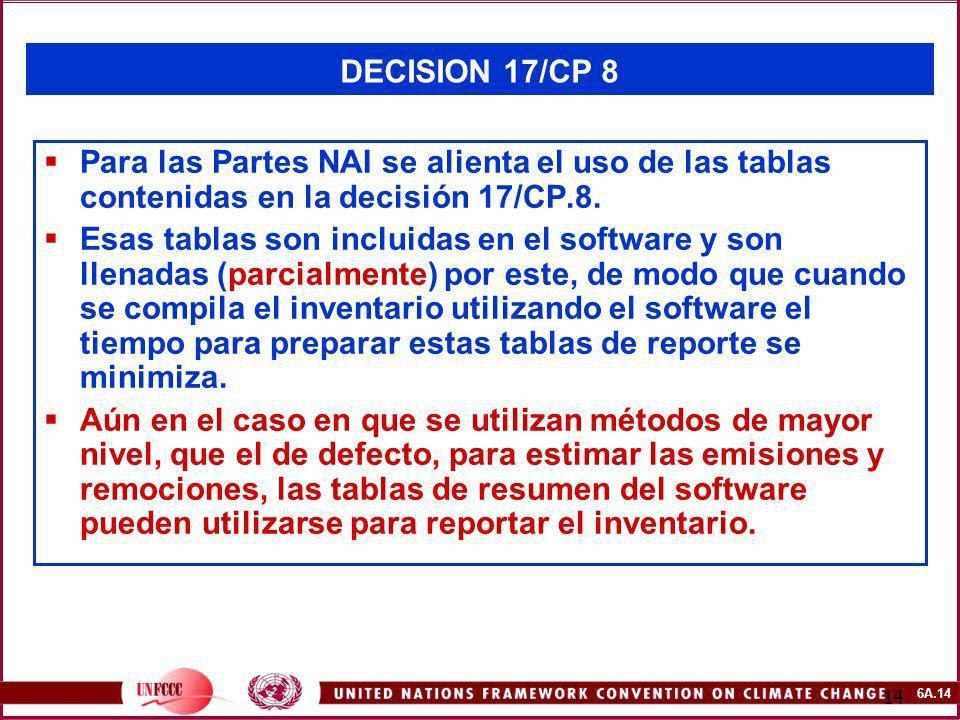 6A.14 14 DECISION 17/CP 8 Para las Partes NAI se alienta el uso de las tablas contenidas en la decisión 17/CP.8. Esas tablas son incluidas en el softw