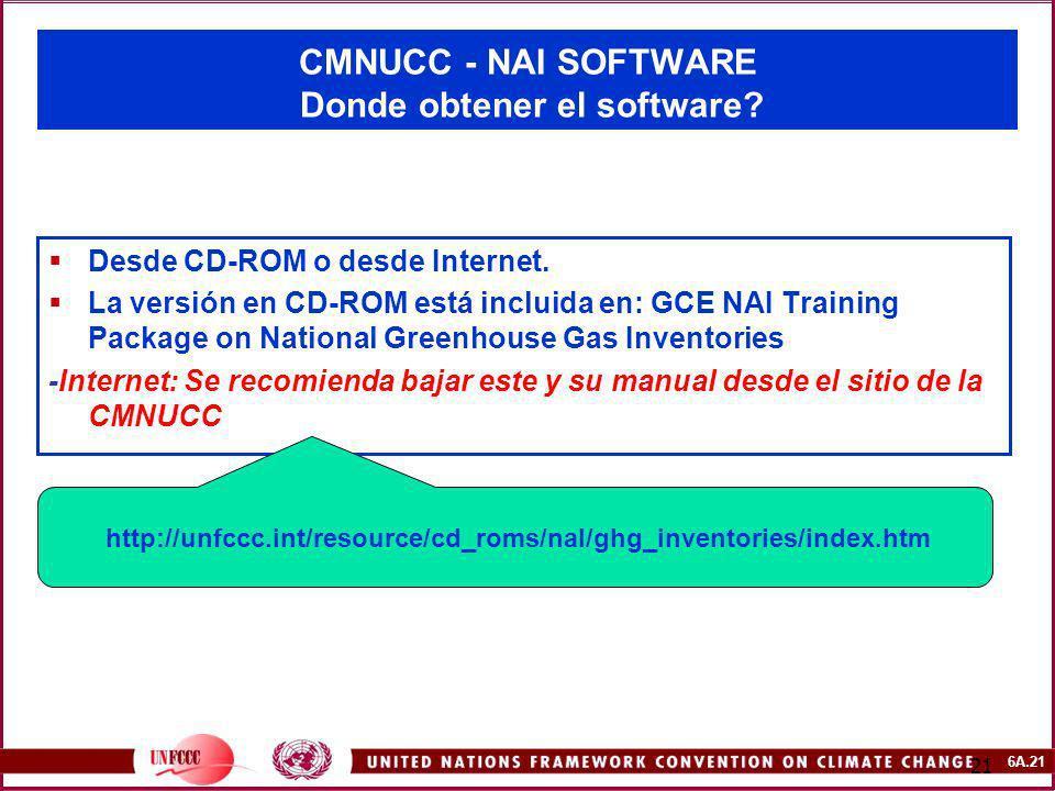6A.21 21 CMNUCC - NAI SOFTWARE Donde obtener el software? Desde CD-ROM o desde Internet. La versión en CD-ROM está incluida en: GCE NAI Training Packa