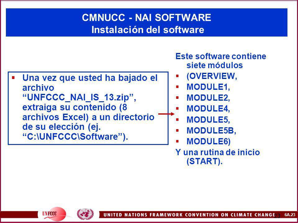 6A.23 23 CMNUCC - NAI SOFTWARE Instalación del software Una vez que usted ha bajado el archivo UNFCCC_NAI_IS_13.zip, extraiga su contenido (8 archivos