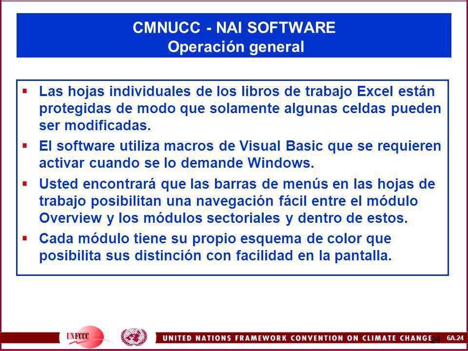 6A.24 24 CMNUCC - NAI SOFTWARE Operación general Las hojas individuales de los libros de trabajo Excel están protegidas de modo que solamente algunas