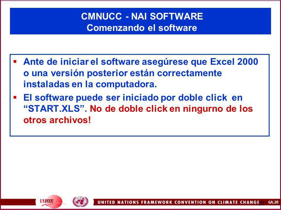 6A.28 28 CMNUCC - NAI SOFTWARE Comenzando el software Ante de iniciar el software asegúrese que Excel 2000 o una versión posterior están correctamente
