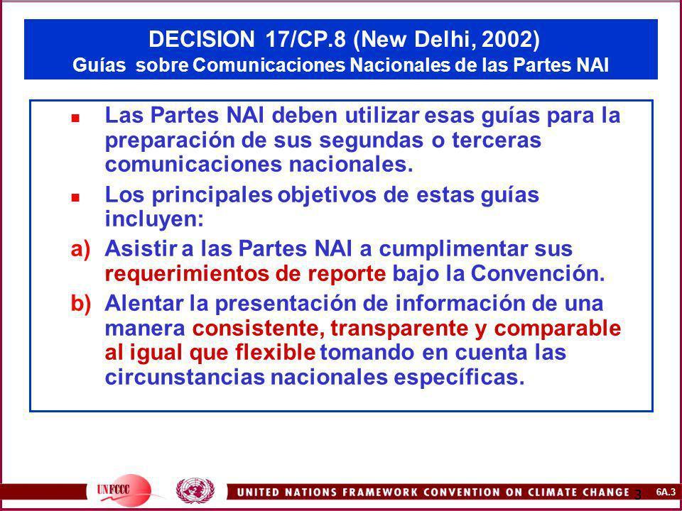 6A.3 3 DECISION 17/CP.8 (New Delhi, 2002) Guías sobre Comunicaciones Nacionales de las Partes NAI Las Partes NAI deben utilizar esas guías para la pre