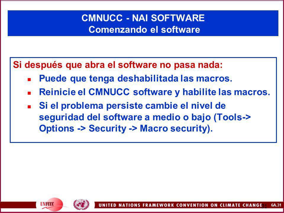 6A.31 31 CMNUCC - NAI SOFTWARE Comenzando el software Si después que abra el software no pasa nada: Puede que tenga deshabilitada las macros. Reinicie