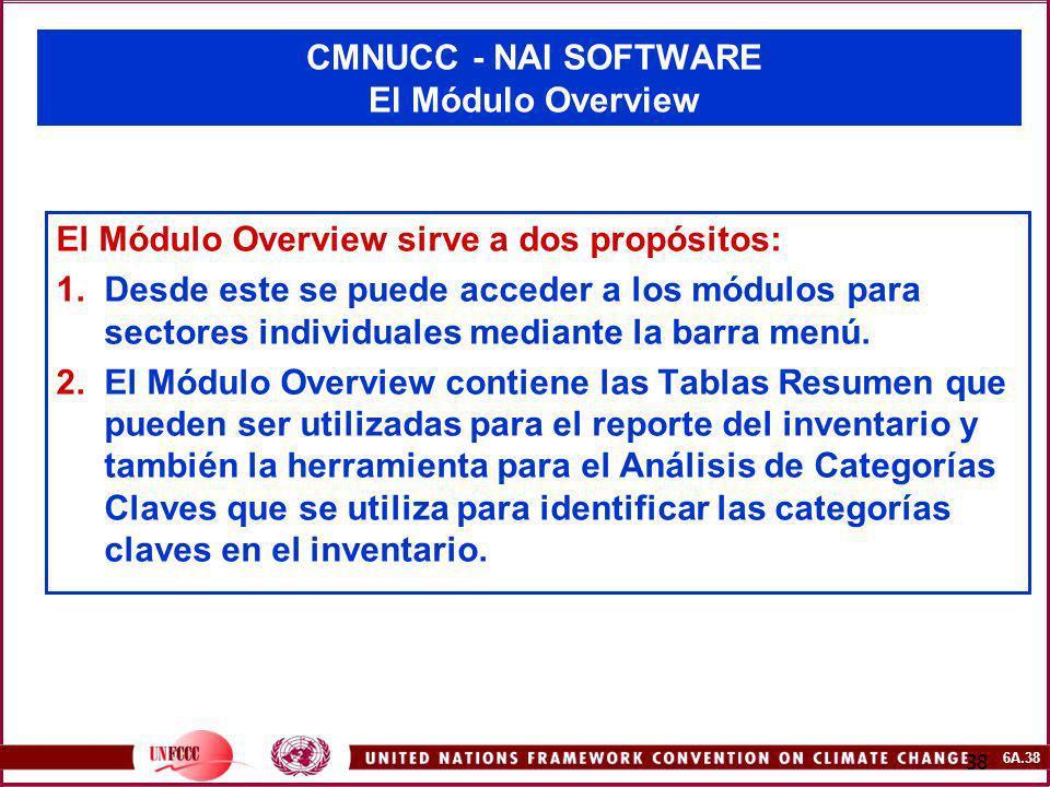 6A.38 38 CMNUCC - NAI SOFTWARE El Módulo Overview El Módulo Overview sirve a dos propósitos: 1.Desde este se puede acceder a los módulos para sectores