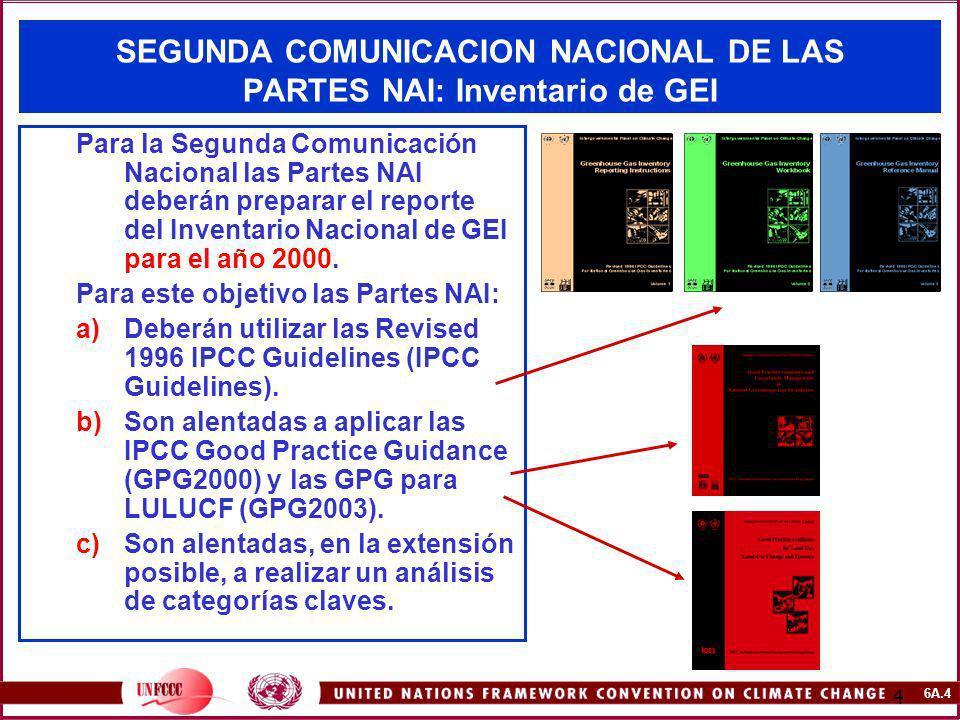 6A.4 4 SEGUNDA COMUNICACION NACIONAL DE LAS PARTES NAI: Inventario de GEI Para la Segunda Comunicación Nacional las Partes NAI deberán preparar el rep