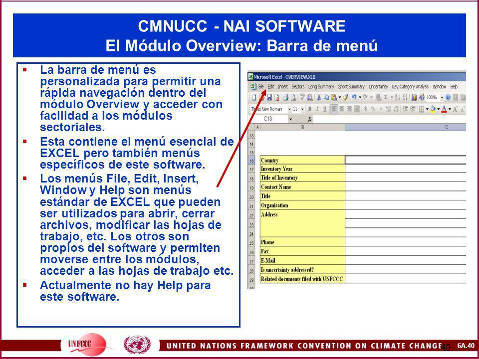 6A.40 40 CMNUCC - NAI SOFTWARE El Módulo Overview: Barra de menú La barra de menú es personalizada para permitir una rápida navegación dentro del módu