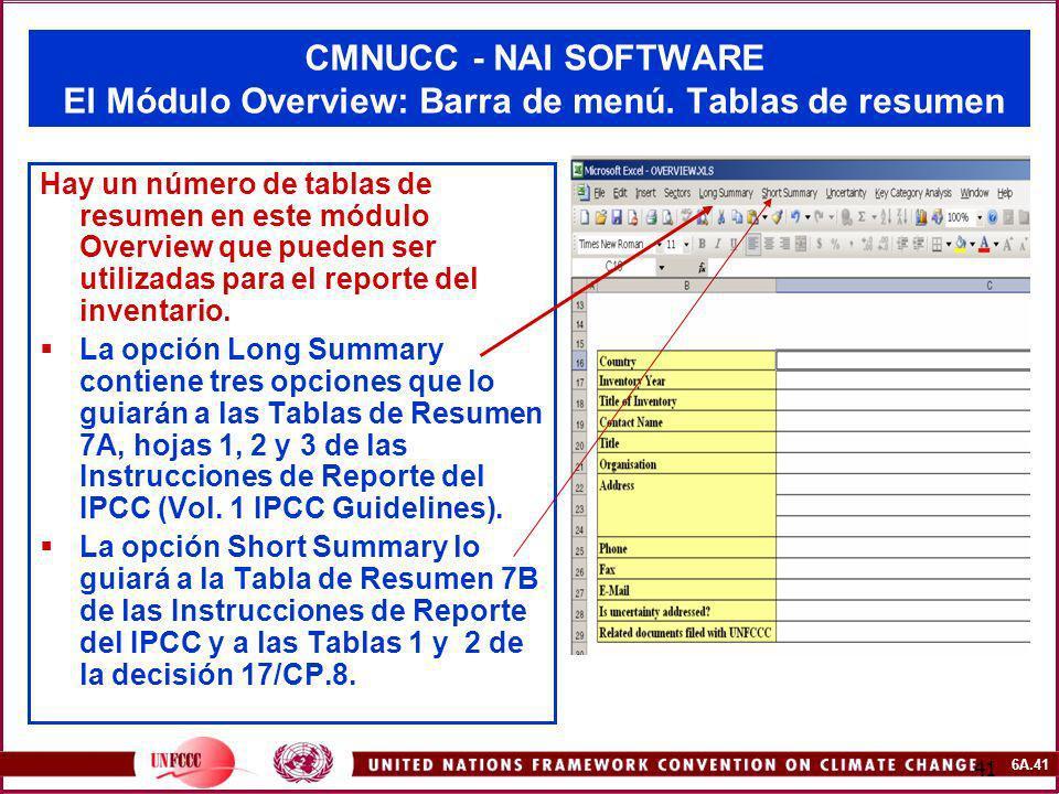 6A.41 41 CMNUCC - NAI SOFTWARE El Módulo Overview: Barra de menú. Tablas de resumen Hay un número de tablas de resumen en este módulo Overview que pue