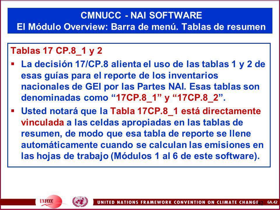 6A.42 42 CMNUCC - NAI SOFTWARE El Módulo Overview: Barra de menú. Tablas de resumen Tablas 17 CP.8_1 y 2 La decisión 17/CP.8 alienta el uso de las tab