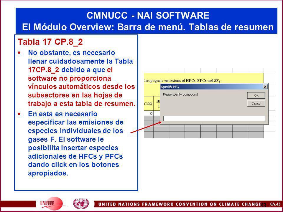 6A.43 43 CMNUCC - NAI SOFTWARE El Módulo Overview: Barra de menú. Tablas de resumen Tabla 17 CP.8_2 No obstante, es necesario llenar cuidadosamente la
