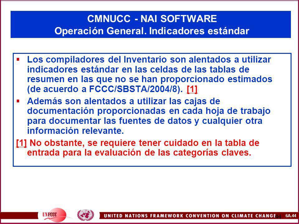 6A.44 44 CMNUCC - NAI SOFTWARE Operación General. Indicadores estándar Los compiladores del Inventario son alentados a utilizar indicadores estándar e