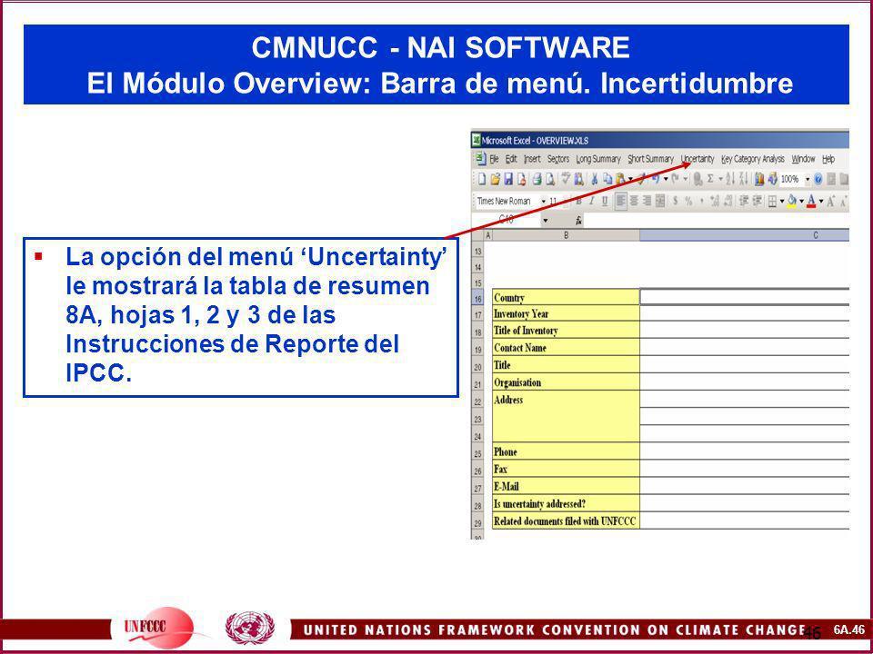 6A.46 46 CMNUCC - NAI SOFTWARE El Módulo Overview: Barra de menú. Incertidumbre La opción del menú Uncertainty le mostrará la tabla de resumen 8A, hoj