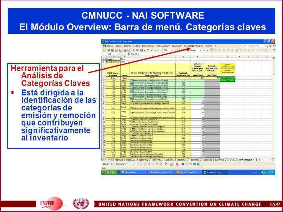 6A.47 47 CMNUCC - NAI SOFTWARE El Módulo Overview: Barra de menú. Categorías claves Herramienta para el Análisis de Categorías Claves Está dirigida a