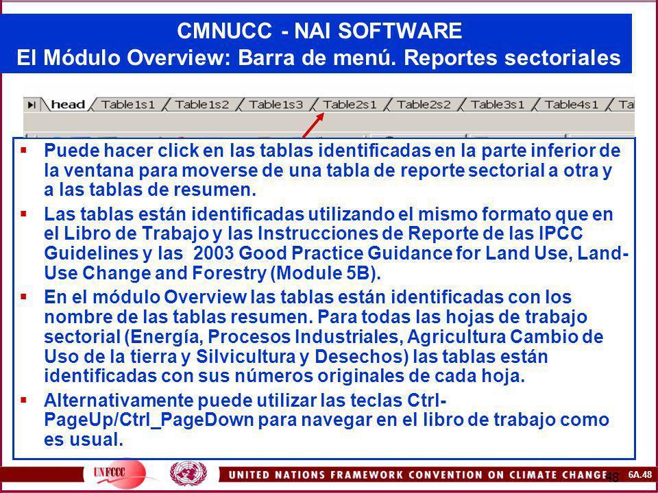 6A.48 48 CMNUCC - NAI SOFTWARE El Módulo Overview: Barra de menú. Reportes sectoriales Puede hacer click en las tablas identificadas en la parte infer