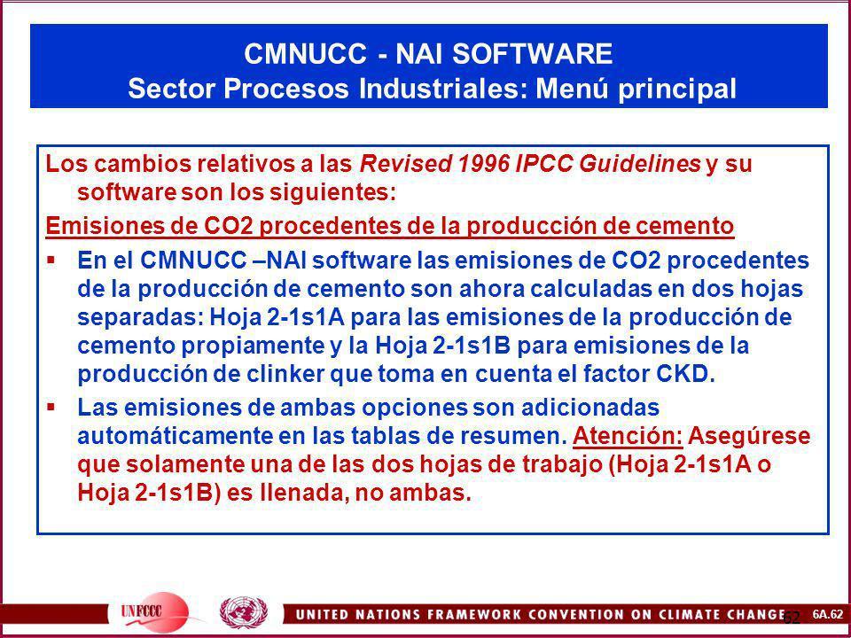 6A.62 62 CMNUCC - NAI SOFTWARE Sector Procesos Industriales: Menú principal Los cambios relativos a las Revised 1996 IPCC Guidelines y su software son
