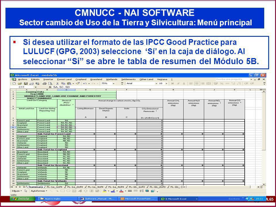 6A.65 65 CMNUCC - NAI SOFTWARE Sector cambio de Uso de la Tierra y Silvicultura: Menú principal Si desea utilizar el formato de las IPCC Good Practice
