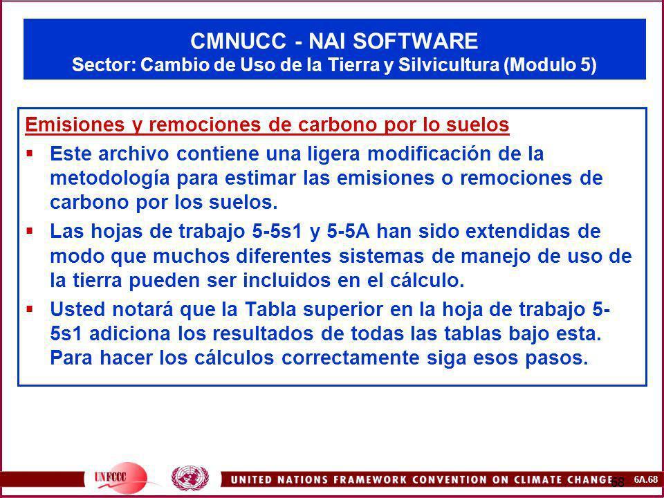6A.68 68 CMNUCC - NAI SOFTWARE Sector: Cambio de Uso de la Tierra y Silvicultura (Modulo 5) Emisiones y remociones de carbono por lo suelos Este archi